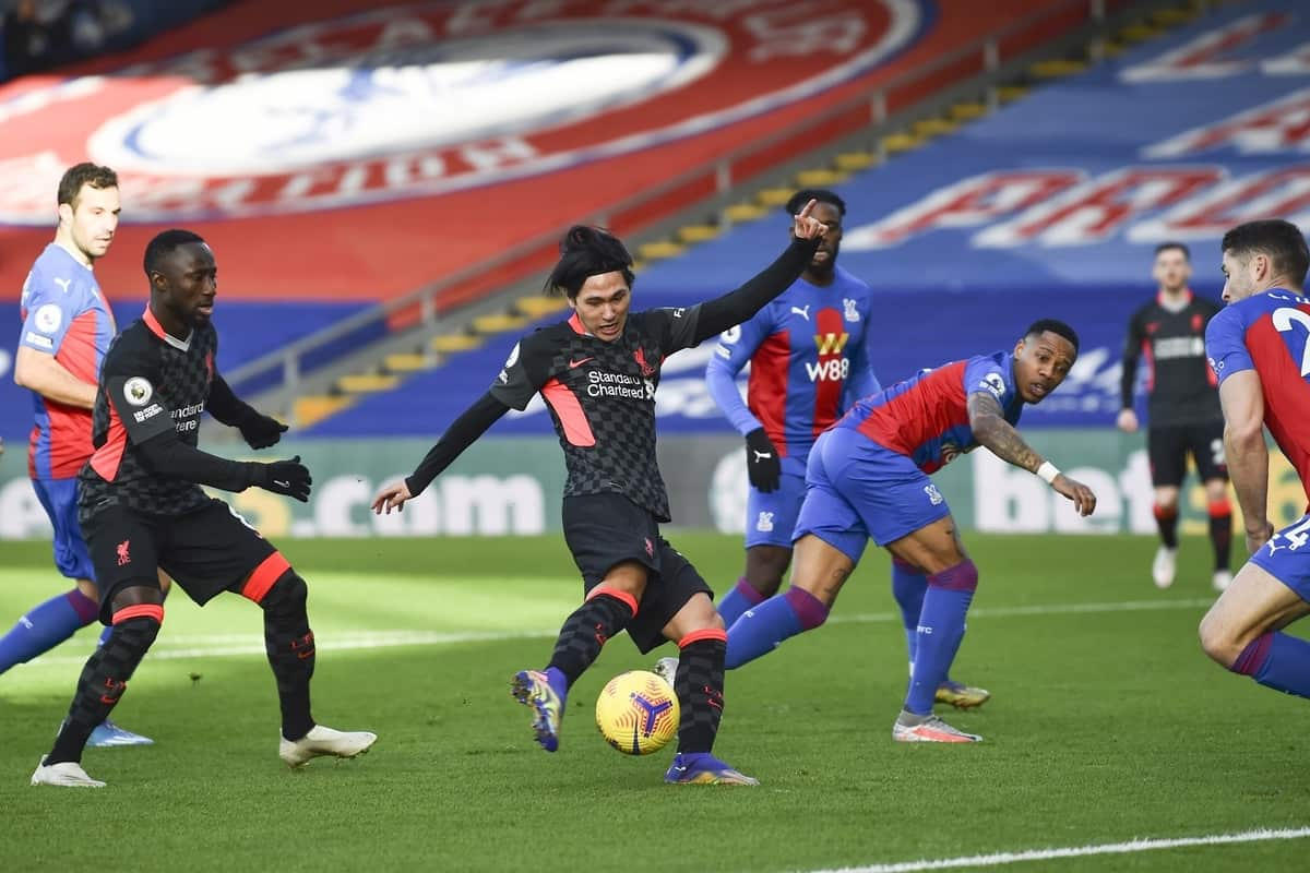 LONDON, ENGLAND - Saturday, December 19, 2020: Liverpool's Takumi Minamino scores the first goal during the FA Premier League match between Crystal Palace FC and Liverpool FC at Selhurst Park. (Pic by David Rawcliffe/Propaganda)