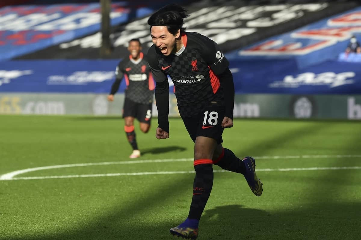 LONDON, ENGLAND - Saturday, December 19, 2020: Liverpool's Takumi Minamino celebrates after scoring the first goal during the FA Premier League match between Crystal Palace FC and Liverpool FC at Selhurst Park. (Pic by David Rawcliffe/Propaganda)