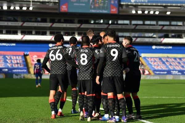 LONDON, ENGLAND - Saturday, December 19, 2020: Liverpool's Takumi Minamino celebrates with team-mates after scoring the first goal during the FA Premier League match between Crystal Palace FC and Liverpool FC at Selhurst Park. (Pic by David Rawcliffe/Propaganda)