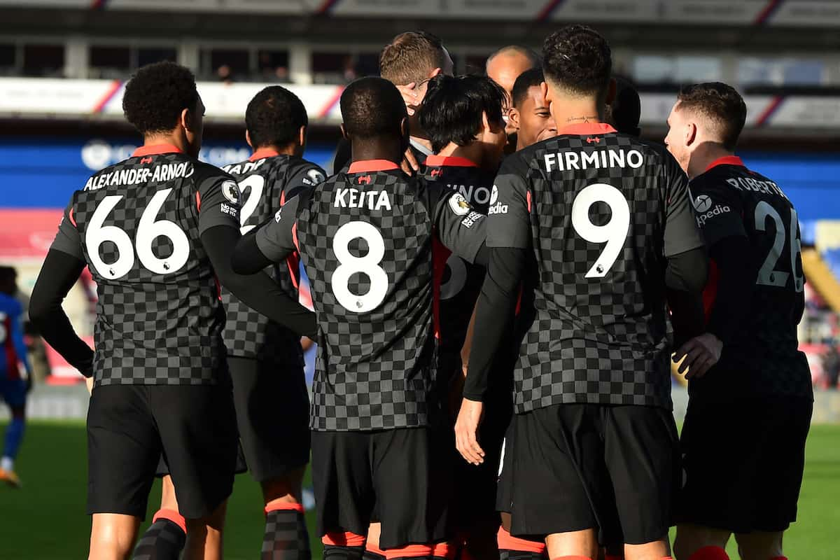 Liverpool Players celebrate their goal  against Crystal Palace
