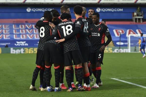 LONDON, ENGLAND - Saturday, December 19, 2020: Liverpool's Sadio Mané (hidden) celebrates with team-mates after scoring the second goal during the FA Premier League match between Crystal Palace FC and Liverpool FC at Selhurst Park. (Pic by David Rawcliffe/Propaganda)