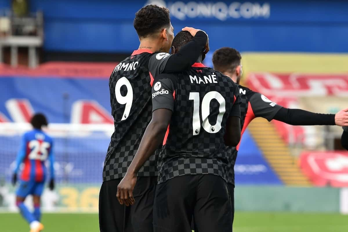 LONDON, ENGLAND - Saturday, December 19, 2020: Liverpool's Sadio Mané (R) celebrates with team-mate Roberto Firmino after scoring the second goal during the FA Premier League match between Crystal Palace FC and Liverpool FC at Selhurst Park. (Pic by David Rawcliffe/Propaganda)