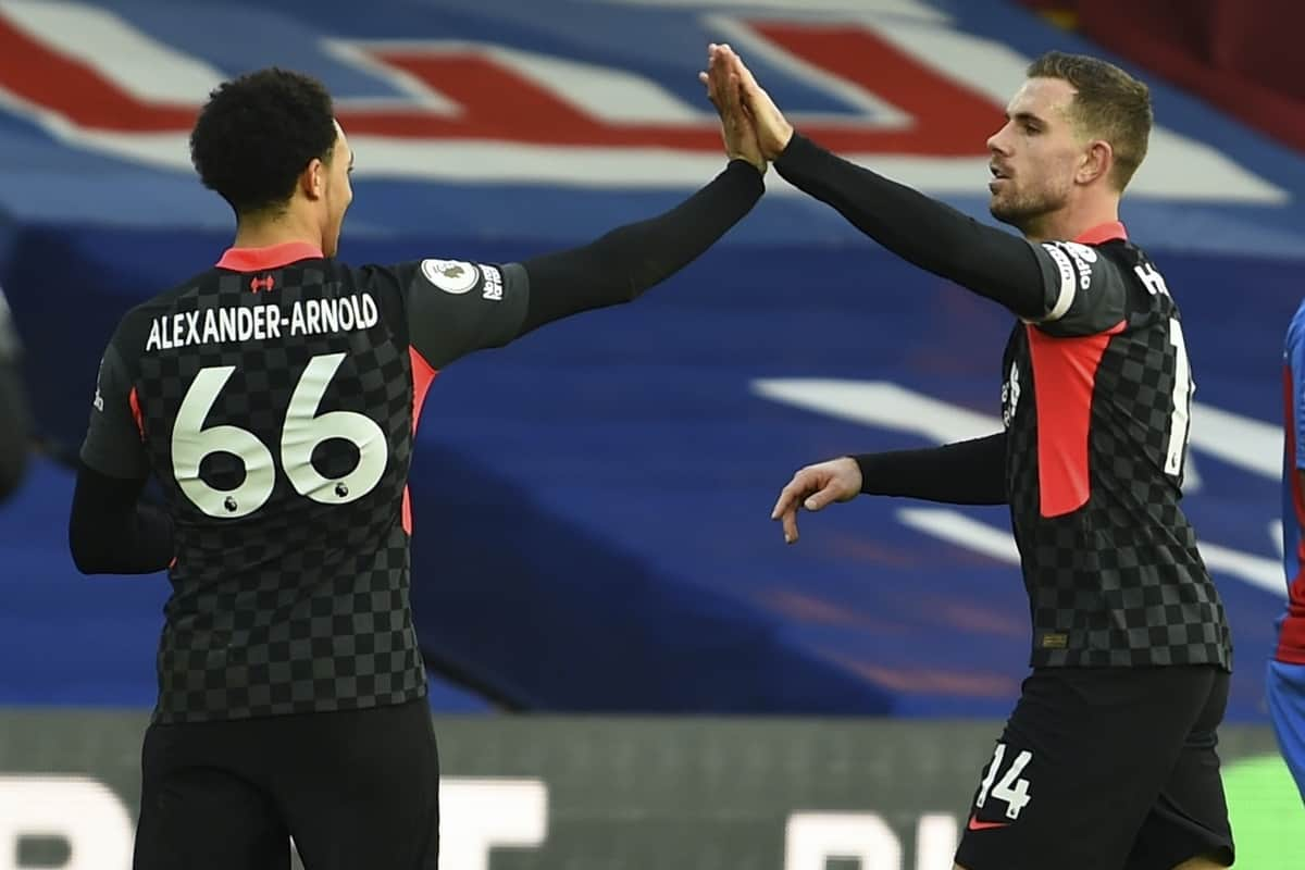 LONDON, ENGLAND - Saturday, December 19, 2020: Liverpool's captain Jordan Henderson (R) celebrates with team-mate Trent Alexander-Arnold after scoring the fourth goal during the FA Premier League match between Crystal Palace FC and Liverpool FC at Selhurst Park. (Pic by David Rawcliffe/Propaganda)