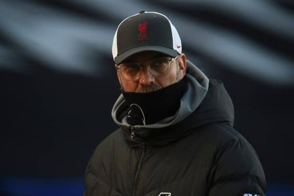 LONDON, ENGLAND - Saturday, December 19, 2020: Liverpool's manager Jürgen Klopp during the pre-match warm-up before the FA Premier League match between Crystal Palace FC and Liverpool FC at Selhurst Park. (Pic by David Rawcliffe/Propaganda)