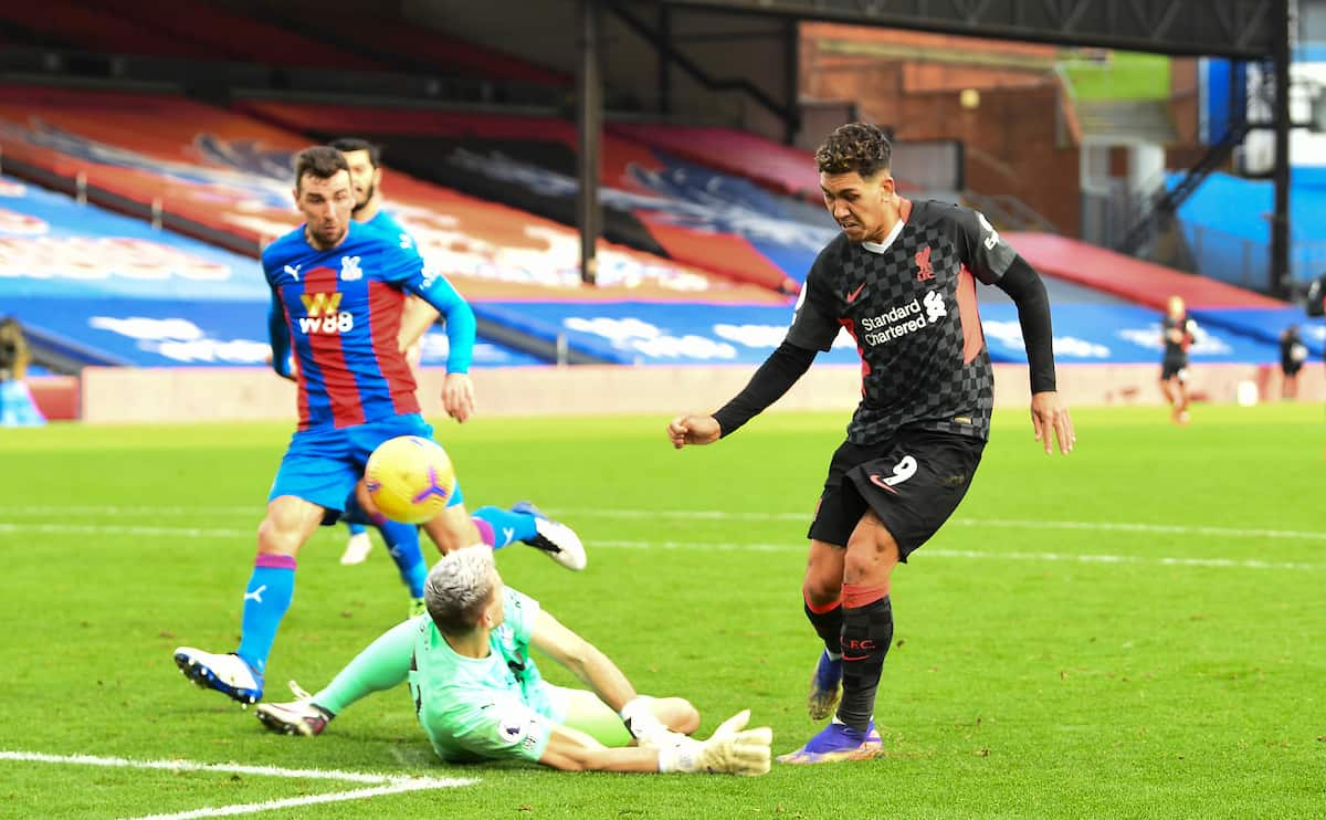LONDON, ENGLAND - Saturday, December 19, 2020: Liverpool's Roberto Firmino scores the fifth goal during the FA Premier League match between Crystal Palace FC and Liverpool FC at Selhurst Park. (Pic by David Rawcliffe/Propaganda)