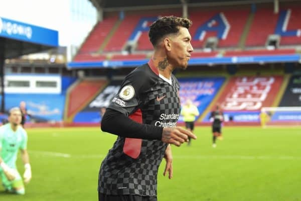 LONDON, ENGLAND - Saturday, December 19, 2020: Liverpool's Roberto Firmino celebrates after scoring the fifth goal during the FA Premier League match between Crystal Palace FC and Liverpool FC at Selhurst Park. (Pic by David Rawcliffe/Propaganda)