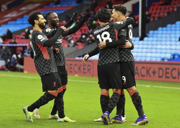 LONDON, ENGLAND - Saturday, December 19, 2020: Liverpool's Roberto Firmino celebrates with team-mates after scoring the fifth goal during the FA Premier League match between Crystal Palace FC and Liverpool FC at Selhurst Park. (Pic by David Rawcliffe/Propaganda)