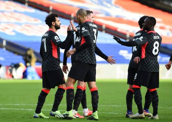 LONDON, ENGLAND - Saturday, December 19, 2020: Liverpool's Mohamed Salah celebrates after scoring the seventh goal during the FA Premier League match between Crystal Palace FC and Liverpool FC at Selhurst Park. (Pic by David Rawcliffe/Propaganda)