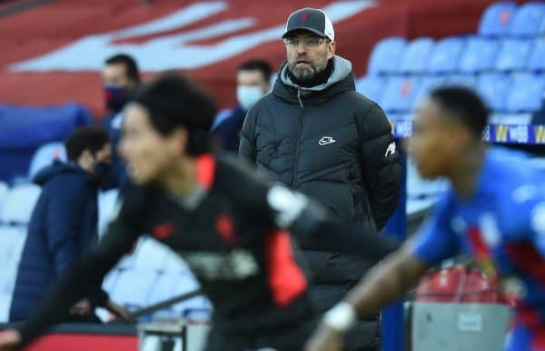LONDON, ENGLAND - Saturday, December 19, 2020: Liverpool's manager Jürgen Klopp during the FA Premier League match between Crystal Palace FC and Liverpool FC at Selhurst Park. (Pic by David Rawcliffe/Propaganda)