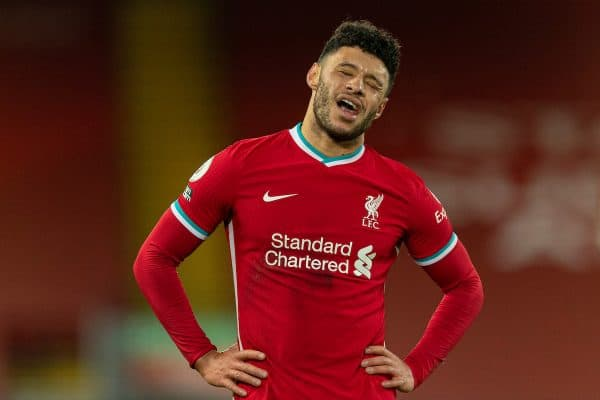 LIVERPOOL, ENGLAND - Sunday, December 27, 2020: Liverpool's Alex Oxlade-Chamberlain looks dejected after the FA Premier League match between Liverpool FC and West Bromwich Albion FC at Anfield. (Pic by David Rawcliffe/Propaganda)