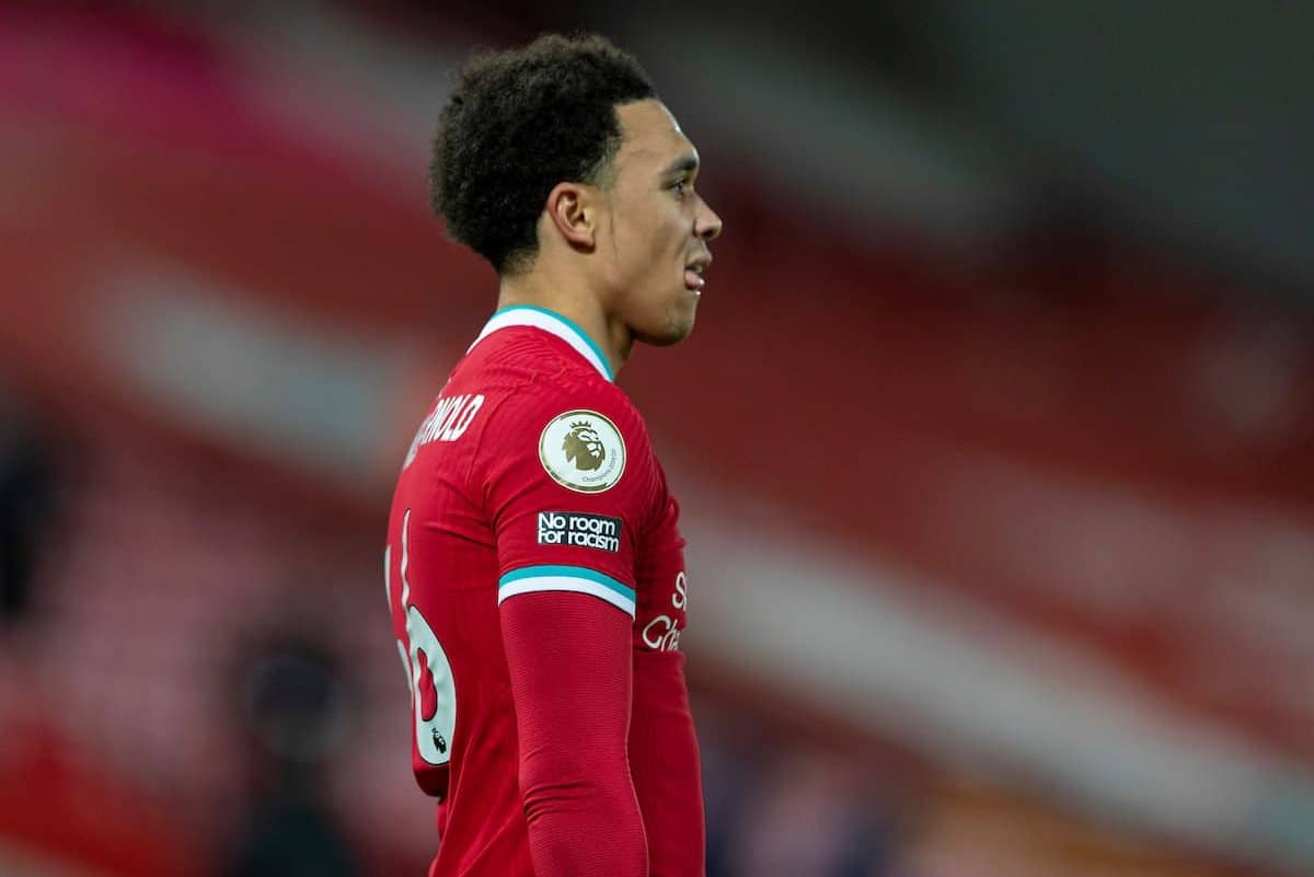 LIVERPOOL, ENGLAND - Sunday, December 27, 2020: Liverpool's Trent Alexander-Arnold looks dejected after the FA Premier League match between Liverpool FC and West Bromwich Albion FC at Anfield. (Pic by David Rawcliffe/Propaganda)