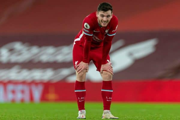 LIVERPOOL, ENGLAND - Sunday, December 27, 2020: Liverpool's Andy Robertson looks dejected after the FA Premier League match between Liverpool FC and West Bromwich Albion FC at Anfield. (Pic by David Rawcliffe/Propaganda)