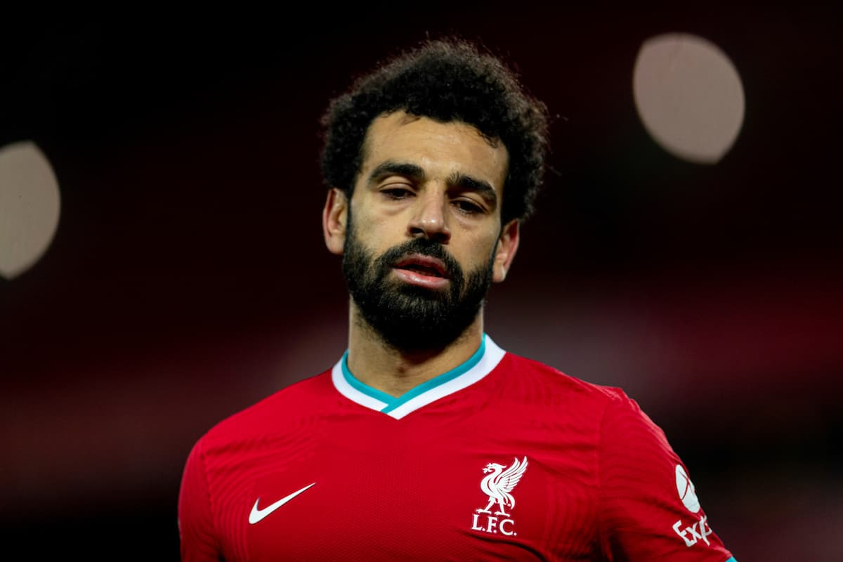 LIVERPOOL, ENGLAND - Sunday, December 27, 2020: Liverpool's Mohamed Salah during the FA Premier League match between Liverpool FC and West Bromwich Albion FC at Anfield. (Pic by David Rawcliffe/Propaganda)
