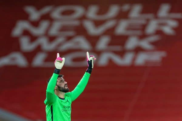 LIVERPOOL, ENGLAND - Sunday, December 27, 2020: Liverpool's goalkeeper Alisson Becker before the FA Premier League match between Liverpool FC and West Bromwich Albion FC at Anfield. (Pic by David Rawcliffe/Propaganda)