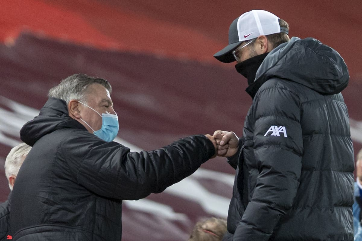 LIVERPOOL, ENGLAND - Sunday, December 27, 2020: Liverpool's manager Jürgen Klopp (R) and West Bromwich Albion's manager Sam Allardyce before the FA Premier League match between Liverpool FC and West Bromwich Albion FC at Anfield. (Pic by David Rawcliffe/Propaganda)