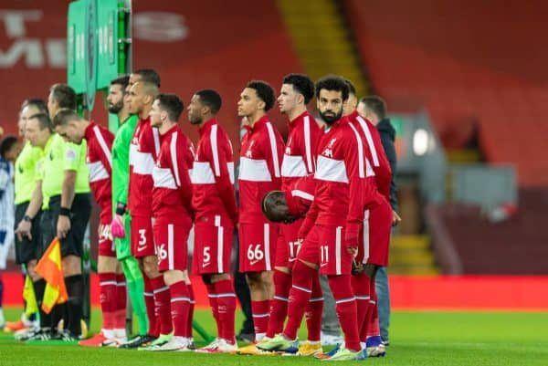 LIVERPOOL, ENGLAND - Sunday, December 27, 2020: Liverpool's Mohamed Salah lines-up before the FA Premier League match between Liverpool FC and West Bromwich Albion FC at Anfield. (Pic by David Rawcliffe/Propaganda)