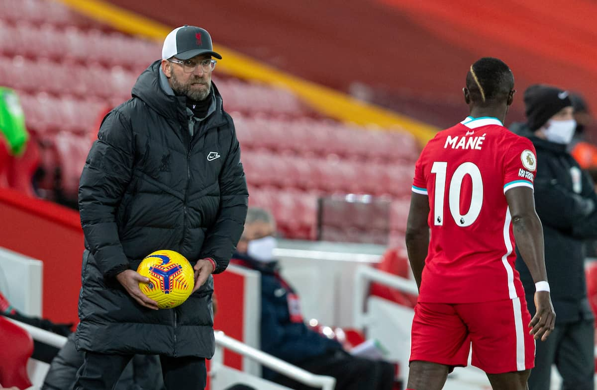 LIVERPOOL, ENGLAND - Sunday, December 27, 2020: Liverpool's manager Jürgen Klopp during the FA Premier League match between Liverpool FC and West Bromwich Albion FC at Anfield. (Pic by David Rawcliffe/Propaganda)