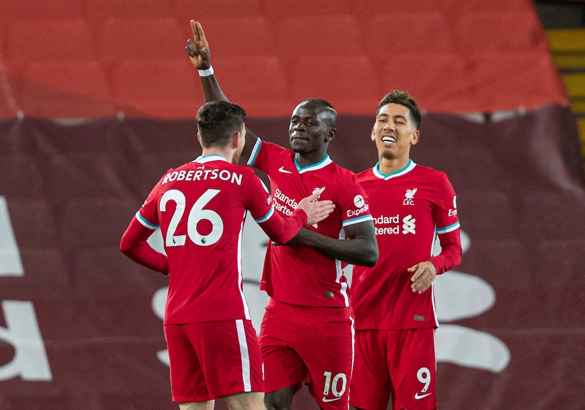LIVERPOOL, ENGLAND - Sunday, December 27, 2020: Liverpool's Sadio Mané celebrates after scoring the first goal during the FA Premier League match between Liverpool FC and West Bromwich Albion FC at Anfield. (Pic by David Rawcliffe/Propaganda)