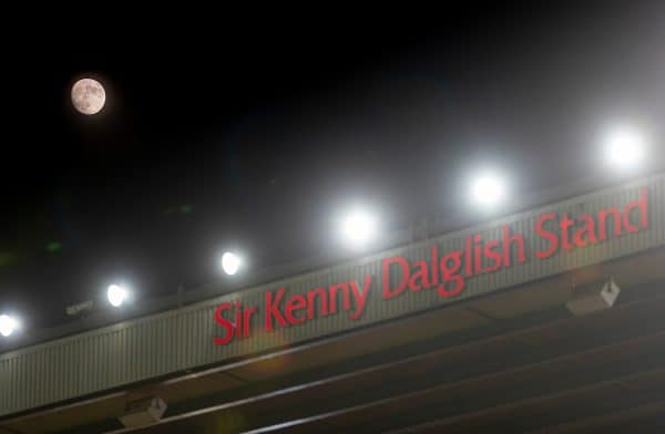 The moon rises over the Kenny Dalglish Stand (formerly the Centenary and Kemlyn Road) during the FA Premier League match between Liverpool FC and West Bromwich Albion FC at Anfield. (Pic by David Rawcliffe/Propaganda)