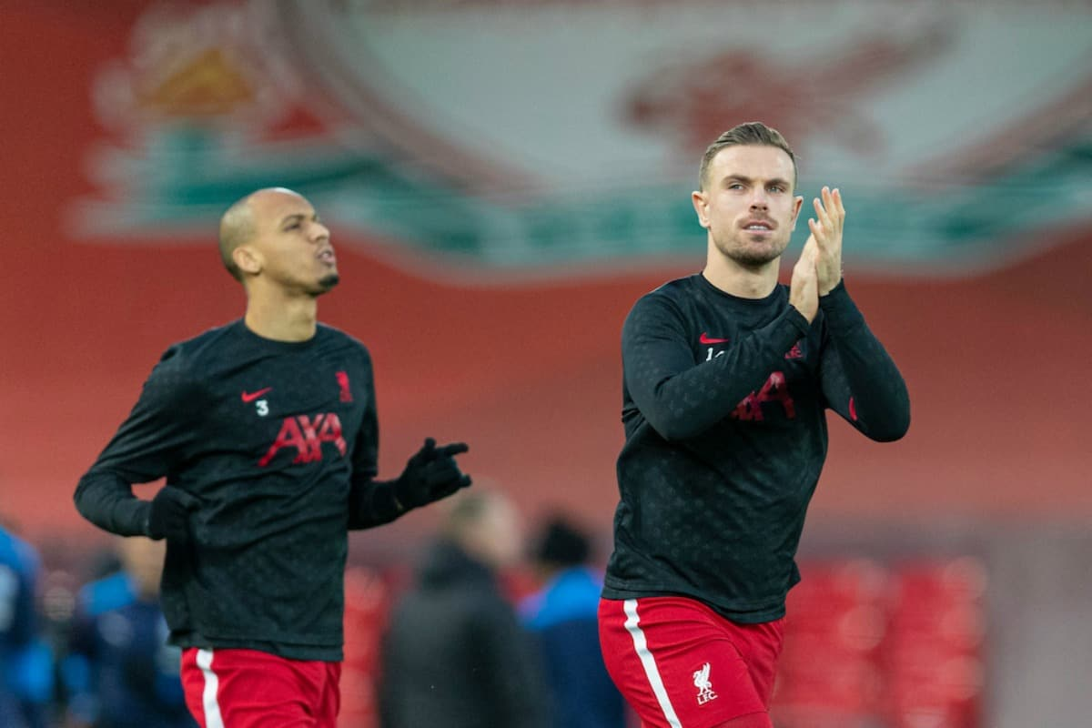 LIVERPOOL, ENGLAND - Sunday, December 27, 2020: Liverpool's captain Jordan Henderson during the pre-match warm-up before the FA Premier League match between Liverpool FC and West Bromwich Albion FC at Anfield. (Pic by David Rawcliffe/Propaganda)