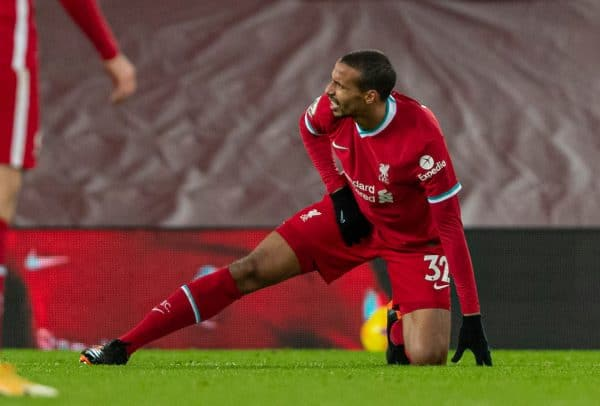 LIVERPOOL, ENGLAND - Sunday, December 27, 2020: Liverpool's Joel Matip goes off with an injury, replaced by substitute Rhys Williams, during the FA Premier League match between Liverpool FC and West Bromwich Albion FC at Anfield. (Pic by David Rawcliffe/Propaganda)