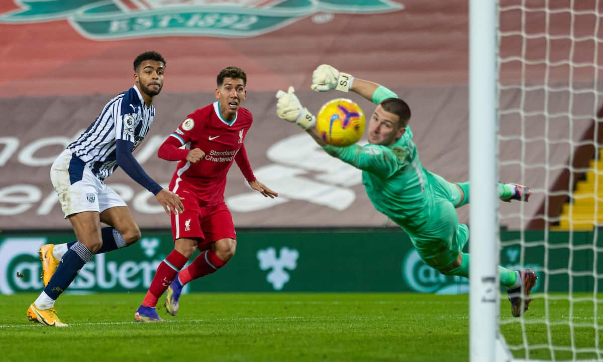 LIVERPOOL, ENGLAND - Sunday, December 27, 2020: Liverpool's Roberto Firmino sees his header saved by West Bromwich Albion's goalkeeper Sam Johnstone during the FA Premier League match between Liverpool FC and West Bromwich Albion FC at Anfield. (Pic by David Rawcliffe/Propaganda)
