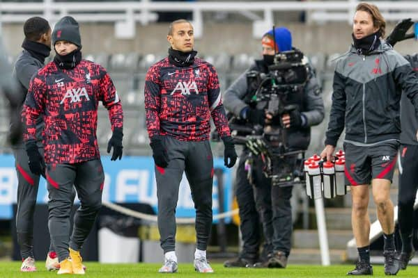 NEWCASTLE-UPON-TYNE, ENGLAND - Wednesday, December 30, 2020: Liverpool's Thiago Alcantara during the pre-match warm-up before the FA Premier League match between Newcastle United FC and Liverpool FC at Anfield. (Pic by David Rawcliffe/Propaganda)