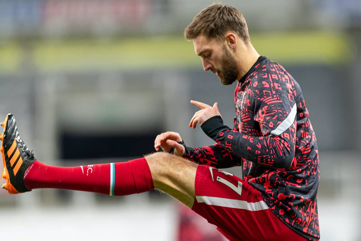 NEWCASTLE-UPON-TYNE, ENGLAND - Wednesday, December 30, 2020: Liverpool's Nathaniel Phillips during the pre-match warm-up before the FA Premier League match between Newcastle United FC and Liverpool FC at Anfield. (Pic by David Rawcliffe/Propaganda)