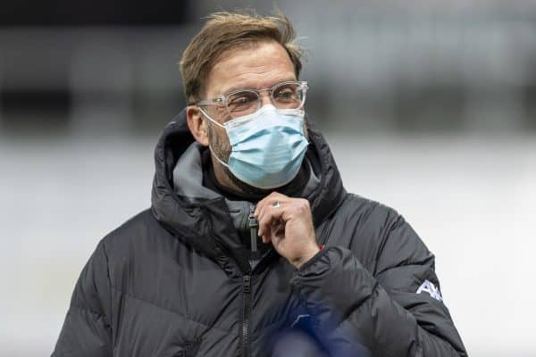 NEWCASTLE-UPON-TYNE, ENGLAND - Wednesday, December 30, 2020: Liverpool's manager Jürgen Klopp before the FA Premier League match between Newcastle United FC and Liverpool FC at Anfield. (Pic by David Rawcliffe/Propaganda)