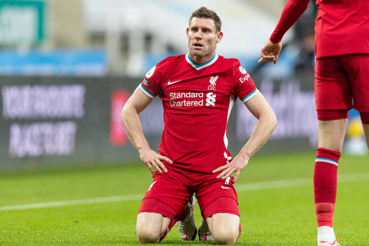 NEWCASTLE-UPON-TYNE, ENGLAND - Wednesday, December 30, 2020: Liverpool's James Milner during the FA Premier League match between Newcastle United FC and Liverpool FC at Anfield. (Pic by David Rawcliffe/Propaganda)