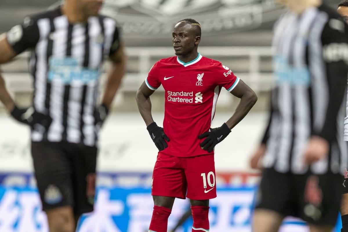 NEWCASTLE-UPON-TYNE, ENGLAND - Wednesday, December 30, 2020: Liverpool's Sadio Mané looks dejected after missing a chance during the FA Premier League match between Newcastle United FC and Liverpool FC at Anfield. (Pic by David Rawcliffe/Propaganda)