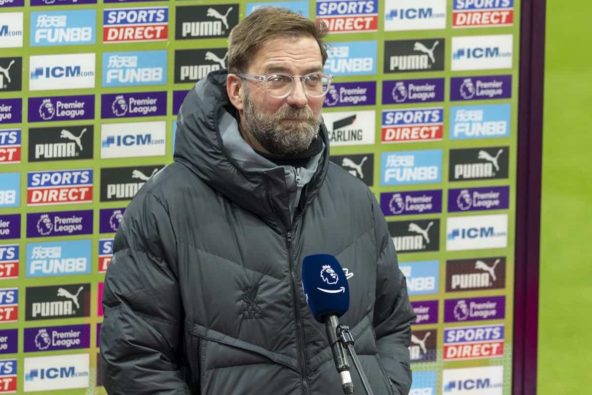 NEWCASTLE-UPON-TYNE, ENGLAND - Wednesday, December 30, 2020: Liverpool's manager Jürgen Klopp gives a television interview before the FA Premier League match between Newcastle United FC and Liverpool FC at Anfield. (Pic by David Rawcliffe/Propaganda)