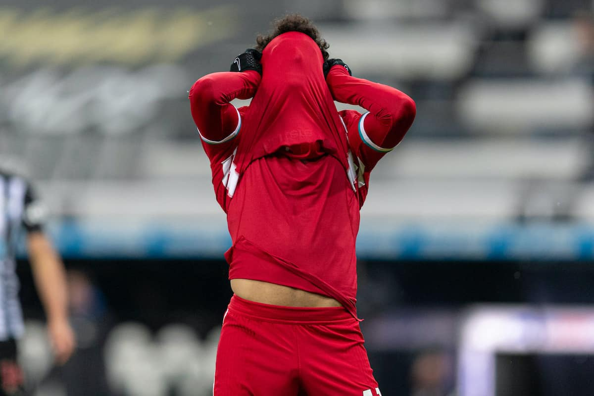 NEWCASTLE-UPON-TYNE, ENGLAND - Wednesday, December 30, 2020: Liverpool's Mohamed Salah looks dejected after missing a chance during the FA Premier League match between Newcastle United FC and Liverpool FC at Anfield. (Pic by David Rawcliffe/Propaganda)