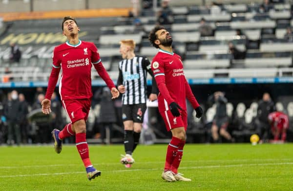 NEWCASTLE-UPON-TYNE, ENGLAND - Wednesday, December 30, 2020: Liverpool's Mohamed Salah (R) looks dejected after missing a chance during the FA Premier League match between Newcastle United FC and Liverpool FC at Anfield. (Pic by David Rawcliffe/Propaganda)