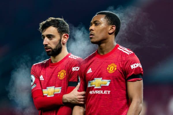 MANCHESTER, ENGLAND - Friday, January 1, 2020: Manchester United's Bruno Fernandes (L) and Anthony Martial during the New Year's Day FA Premier League match between Manchester United FC and Aston Villa FC at Old Trafford. The game was played behind closed doors due to the UK government putting Greater Manchester in Tier 4: Stay at Home during the Coronavirus COVID-19 Pandemic. (Pic by David Rawcliffe/Propaganda)