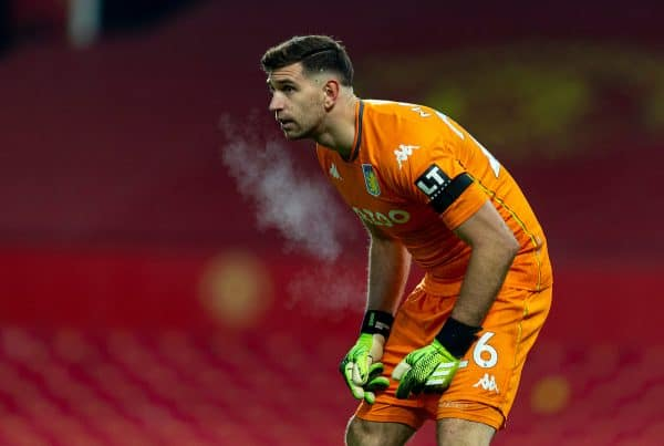 MANCHESTER, ENGLAND - Friday, January 1, 2020: Aston Villa's goalkeeper Emiliano Martínez during the New Year's Day FA Premier League match between Manchester United FC and Aston Villa FC at Old Trafford. The game was played behind closed doors due to the UK government putting Greater Manchester in Tier 4: Stay at Home during the Coronavirus COVID-19 Pandemic. (Pic by David Rawcliffe/Propaganda)