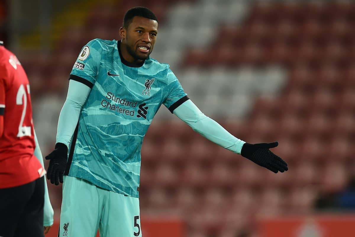 SOUTHAMPTON, ENGLAND - Monday, January 4, 2021: Liverpool's Georginio Wijnaldum looks dejected during the FA Premier League match between Southampton FC and Liverpool FC at St Mary's Stadium. Southampton won 1-0. (Pic by Propaganda)