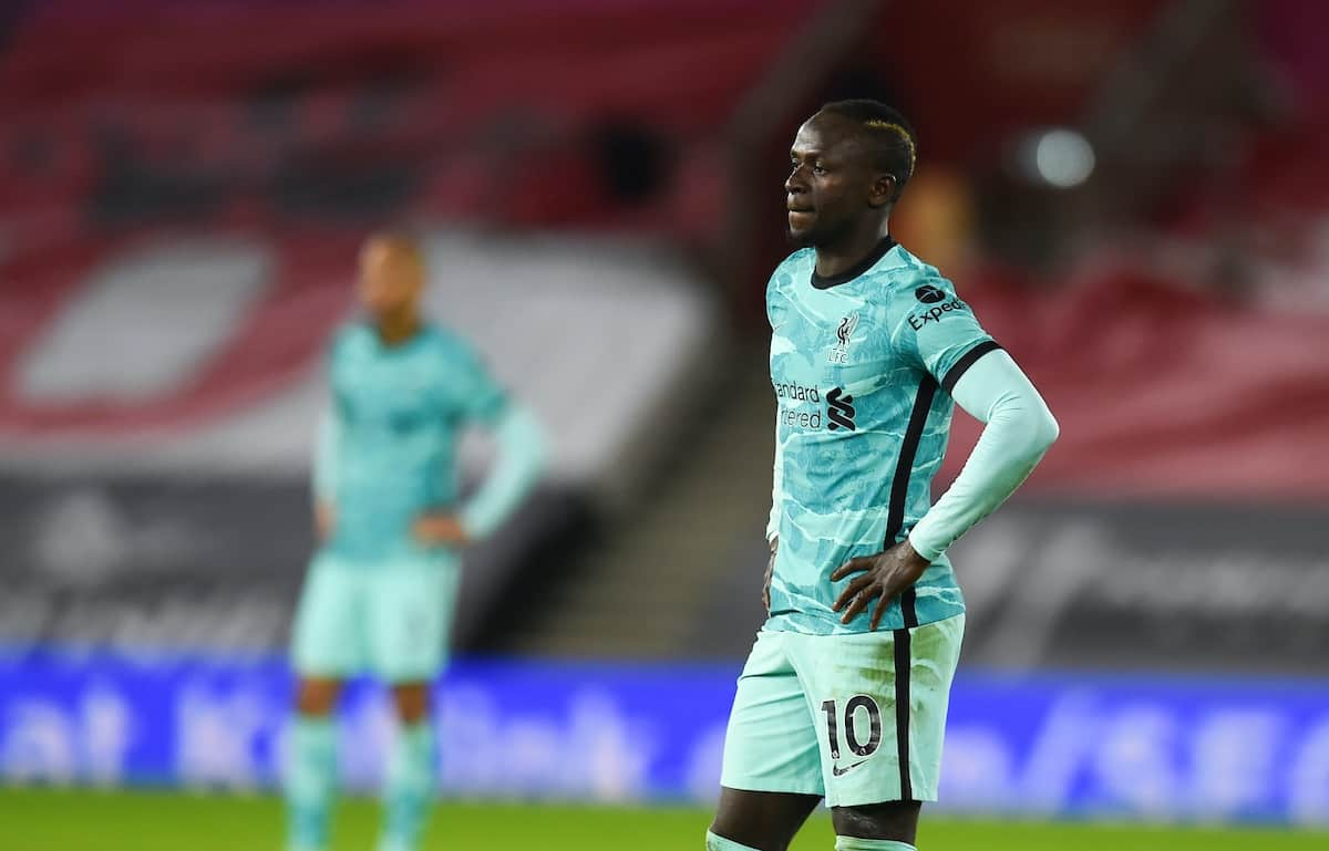 SOUTHAMPTON, ENGLAND - Monday, January 4, 2021: Liverpool's Sadio Mané during the FA Premier League match between Southampton FC and Liverpool FC at St Mary's Stadium. (Pic by Propaganda)