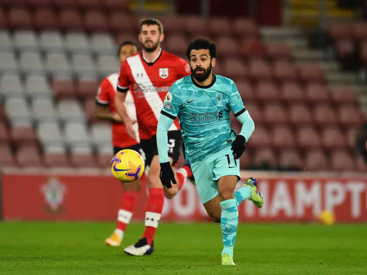 SOUTHAMPTON, ENGLAND - Monday, January 4, 2021: Liverpool's Mohamed Salah during the FA Premier League match between Southampton FC and Liverpool FC at St Mary's Stadium. (Pic by Propaganda)