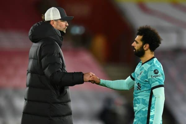SOUTHAMPTON, ENGLAND - Monday, January 4, 2021: Liverpool's manager Jürgen Klopp (L) and Mohamed Salah after the 1-0 defeat during the FA Premier League match between Southampton FC and Liverpool FC at St Mary's Stadium. (Pic by Propaganda)