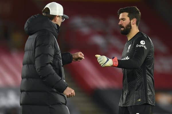 SOUTHAMPTON, ENGLAND - Monday, January 4, 2021: Liverpool's manager Jürgen Klopp (L) and goalkeeper Alisson Becker after the 1-0 defeat during the FA Premier League match between Southampton FC and Liverpool FC at St Mary's Stadium. (Pic by Propaganda)