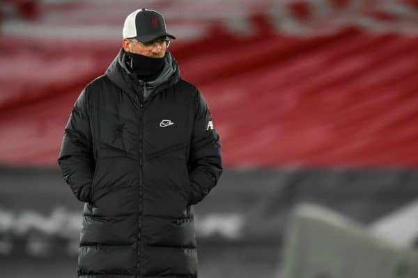 SOUTHAMPTON, ENGLAND - Monday, January 4, 2021: Liverpool's manager Jürgen Klopp during the pre-match warm-up before the FA Premier League match between Southampton FC and Liverpool FC at St Mary's Stadium. (Pic by Propaganda)