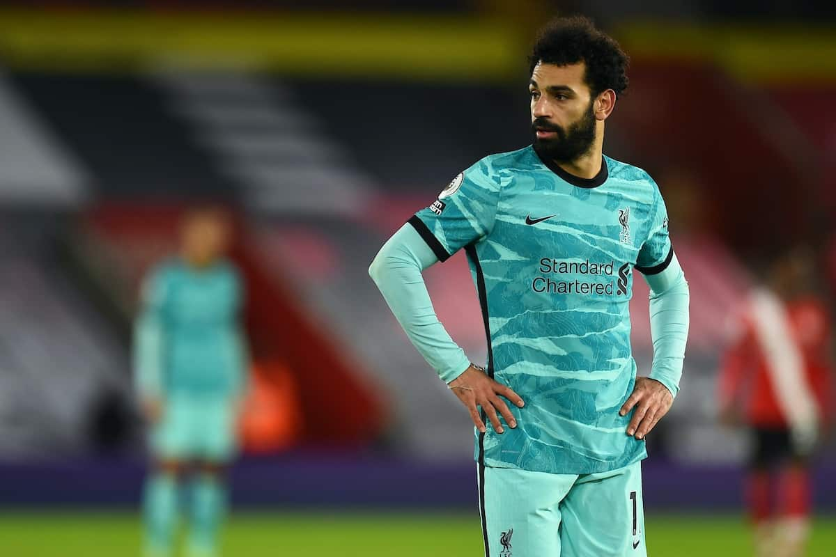 SOUTHAMPTON, ENGLAND - Monday, January 4, 2021: Liverpool's Mohamed Salah during the FA Premier League match between Southampton FC and Liverpool FC at St Mary's Stadium. Southampton won 1-0. (Pic by Propaganda)