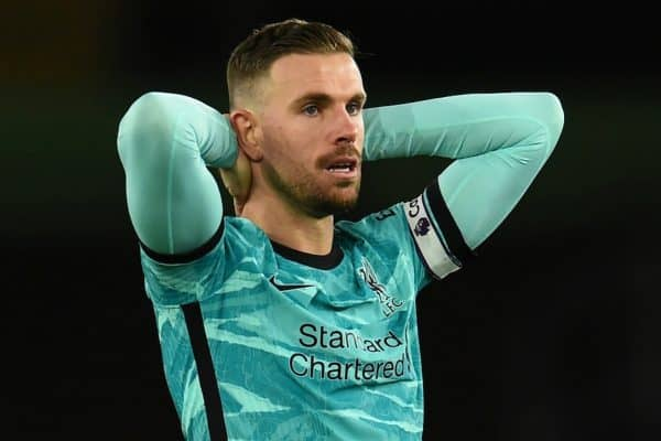 SOUTHAMPTON, ENGLAND - Monday, January 4, 2021: Liverpool's captain Jordan Henderson looks dejected during the FA Premier League match between Southampton FC and Liverpool FC at St Mary's Stadium. Southampton won 1-0. (Pic by Propaganda)