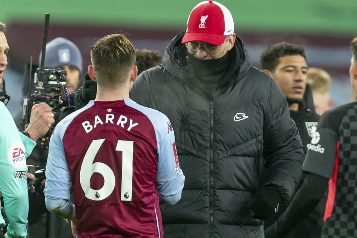 LIVERPOOL, ENGLAND - Tuesday, February 4, 2020: Liverpool's manager Jürgen Klopp with Aston Villa's goal-scorer Louie Barry after the FA Cup 4th Round Replay match between Liverpool FC and Shrewsbury Town at Anfield. Liverpool won 4-1. (Pic by David Rawcliffe/Propaganda)