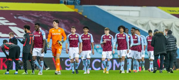 LIVERPOOL, ENGLAND - Tuesday, February 4, 2020: Aston Villa's young tean, average age 18. walk out to face Liverpool before the FA Cup 4th Round Replay match between Liverpool FC and Shrewsbury Town at Anfield. (Pic by David Rawcliffe/Propaganda)