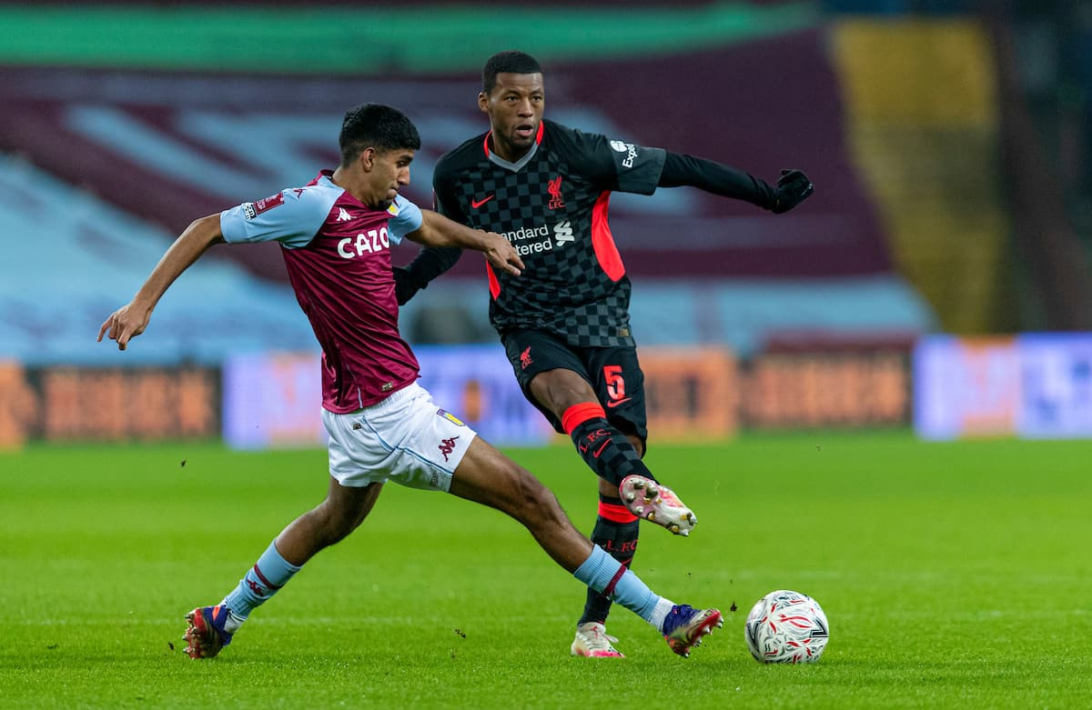 LIVERPOOL, ENGLAND - Tuesday, February 4, 2020: Liverpool's Georginio Wijnaldum (R) and Aston Villa's Arjan Raikhy during the FA Cup 4th Round Replay match between Liverpool FC and Shrewsbury Town at Anfield. (Pic by David Rawcliffe/Propaganda)