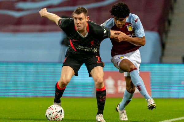 LIVERPOOL, ENGLAND - Tuesday, February 4, 2020: Liverpool's James Milner (L) and Aston Villa's Kaine Hayden during the FA Cup 4th Round Replay match between Liverpool FC and Shrewsbury Town at Anfield. (Pic by David Rawcliffe/Propaganda)