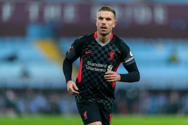 LIVERPOOL, ENGLAND - Tuesday, February 4, 2020: Liverpool's captain Jordan Henderson during the FA Cup 4th Round Replay match between Liverpool FC and Shrewsbury Town at Anfield. (Pic by David Rawcliffe/Propaganda)