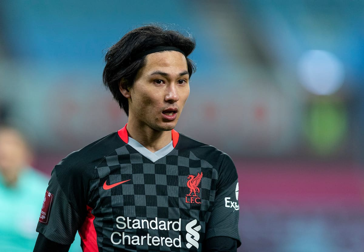 LIVERPOOL, ENGLAND - Tuesday, February 4, 2020: Liverpool's Takumi Minamino during the FA Cup 4th Round Replay match between Liverpool FC and Shrewsbury Town at Anfield. (Pic by David Rawcliffe/Propaganda)